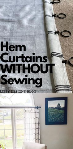 Two ways you can hem curtains without any sewing! ~Lizzy Designs Blog #hemmingcurtains #shorteningcurtains #curtainhacks #nosewhem #curtains