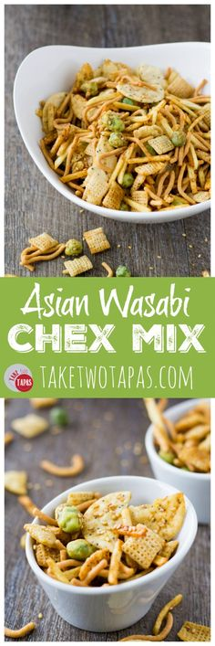 Snack mix takes a trip around the globe and lands in Asian! My Asian Wasabi Chex Mix is loaded with sesame seeds, rice crackers, crunchy chow mein noodles, crispy wasabi peas, and coated with a soy wasabi sauce! Get ready to be addicted to the Far East! Trail Mix Recipes, Snack Mix Recipes, Cooking Recipes, Snack Mixes, Party Recipes, Asian Snack Mix Recipe, Chex Recipes, Freezer Recipes, Chow Mein