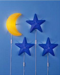IKEA SMILA CHILDRENS WALL LIGHT STAR MOON LAMP NIGHT SOFT MOOD KIDS BLUE  uk.picclick