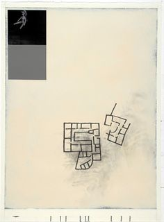 Julião Sarmento, Doll, House, Stone Grey and Cream, 2009, Water based enamel, collage and graphite on paper, 76 x 56 cm