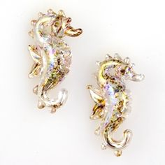 Seahorse Beads - Speckled Gold (2 beads)