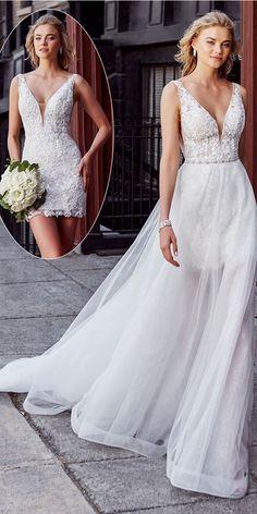 Marvelous Tulle V-neck Neckline 2 In 1 Wedding Dress With Lace Appliques & Beadi. - Marvelous Tulle V-neck Neckline 2 In 1 Wedding Dress With Lace Appliques & Beadings & Detachable Sk - 2 In 1 Wedding Dress, Detachable Wedding Dress, Civil Wedding Dresses, Elegant Wedding Gowns, Wedding Dress Chiffon, Perfect Wedding Dress, White Wedding Dresses, Bridal Dresses, Lace Dress