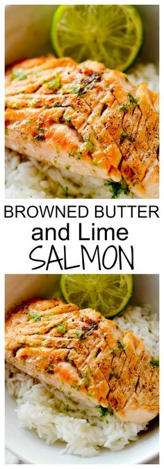 Brown Butter and Lime Salmon with Garlic and Honey - Recipe Diaries #seafoodrecipes
