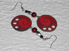 Ohrhänger - Ohrhänger Spirale rot-schwarz-granit - ein Designerstück von iCo-Design bei DaWanda