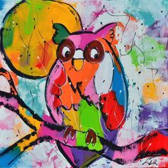 uil by Liz Owl Art, Bird Art, Colorful Drawings, Art Drawings, Painting For Kids, Art For Kids, Art Prompts, Happy Paintings, Colorful Animals