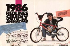 1986 advertisement for Redline freestyle bikes featuring pr0 R.L. Osborn.