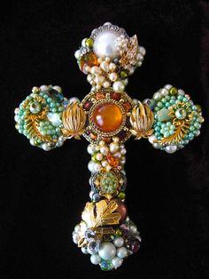 Roslin Cross Vintage Jewelry Art Sculpture by ArtCreationsByCJ