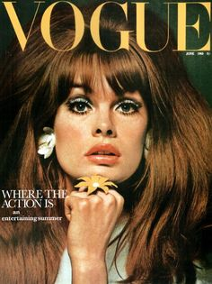 Jean Shrimpton on the cover of Vogue, 1965. Twenty three years old here. Born 1942.