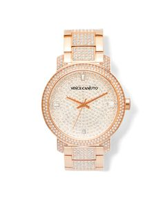 OMGG...I *NEED* this watch...I've been looking for a nice rose-gold watch for a while. Vince Camuto ladies bracelet watch with crystals featured on the bezel and bracelet. The dial is covered with clear pave crystals. 4 baguette crystals mark the time. The closure is a deployant buckle. This watch is water resistant to 100ft. 42mm case; 20mm band width. Adjustable bracelet. Deployant clasp closure. Mineral crystal face. Stainless steel/Swarovski crystal.