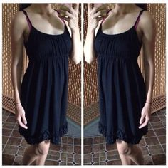 Babydoll dress Black mini dress. Size small but stretchy could fit a medium. Ties at the back as well. Dresses Mini