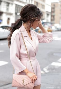 wavy braid ponytail tutorial + topshop petite pink romper + ysl monogram wallet on chain