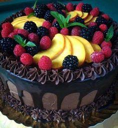 Beautiful chocolate cake with fruit. by priscilla Food Cakes, Cupcake Cakes, Beautiful Chocolate Cake, Rodjendanske Torte, Chocolate Fruit Cake, Chocolate Cheese, Torta Chocolate, Chocolate Ganache, Fresh Fruit Cake