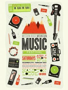 Mission Ridge Mountain Music Festival by Eric Smith Typography Images, Typography Inspiration, Graphic Design Inspiration, Daily Inspiration, Graphic Design Posters, Graphic Design Typography, Graphic Design Illustration, Musikfestival Poster, Poster Prints