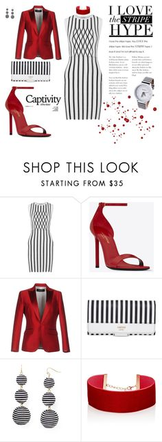"""stripes with red"" by agnesmakoni ❤ liked on Polyvore featuring Opening Ceremony, Yves Saint Laurent, Dsquared2, GUESS, BaubleBar and Jules Smith"