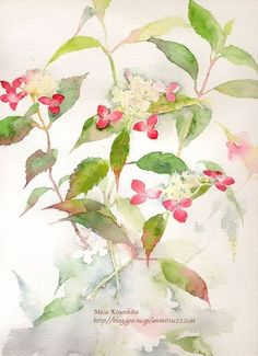 Flowers and plants hand-painted Cotton Linen Fabric, Hand Printed Fabric -fabric for Pillow /bags / Japanese Watercolor, Watercolor Rose, Watercolor Cards, Watercolor Landscape, Watercolor Paintings, Watercolors, Art And Illustration, Art Floral, Hortensia Rose