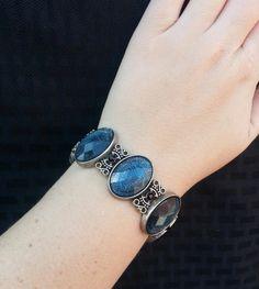 aqua blue crystal bracelet  with scroll work by ninasoriginals on Etsy