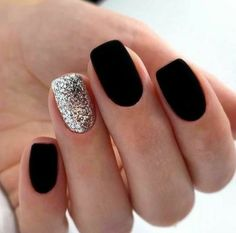Matte Black Nails, Purple Nail, Pink Nails, My Nails, Ombre Nail, Oval Nails, Shellac Nails, Gel Manicure, Mani Pedi
