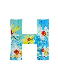 Letter H floral print.  #letterh #wordart