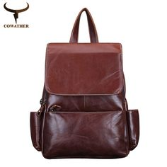5a2cf21a24 COWATHER Vintage 2017 cow genuine leather backpacks for women big capacity  Exquisite Crafts Oil wax leather high quality-in Backpacks from Luggage    Bags on ...