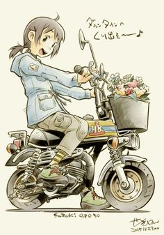 埋め込み画像 Anime Motorcycle, Scooter Moto, Character Art, Character Design, Bike Illustration, Damier, Car Drawings, Illustrations And Posters, Art Reference