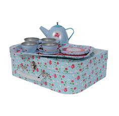 Designer girls gifts online - Tiger Tribe - Vintage Tin Tea Set - Bluebird  Price: $34.95 -  This beautiful vintage tin tea set is the latest addition to the Tiger Tribe family!  This 15 piece tea set will ensure the loveliest tea parties and best of all - no broken plates, it's tin!  Each floral suitcase contains: 1 x tray, 1 x teapot and 4 x each of the following - plates, saucers & tea cups  Dimensions: 29 cm x 19 cm x 9 cm (approx)  Designer girls gifts online - Tiger Tribe