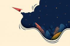 Red paper airplane fly on dark blue background. Illustration Design Graphique, Flat Illustration, Airplane Illustration, Adobe Illustrator, Dark Blue Background, Geometric Background, Galaxy Background, Geometric Shapes, Neon Backgrounds