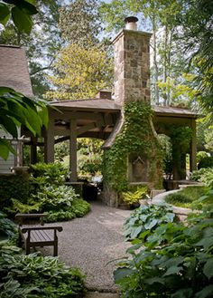 outdoor fireplace with ivy