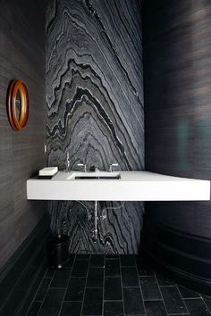 Calacatta Lincoln Marble Countertop And Silver Brown Wave Marble Full  Bathroom Wall By Atlanta Kitchen