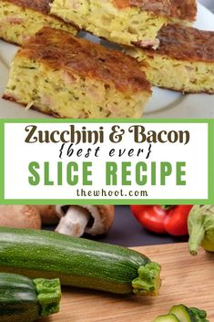 This delicious Zucchini And Bacon Slice Best Recipe uses a few simple ingredients and is the ultimate winner family dinner. Healthy Zucchini Slice, Bacon Zucchini, Zuchinni Recipes, Bacon Recipes, Paleo Recipes, Dinner Recipes, Cooking Recipes, Zuccini Slice, Bread Recipes
