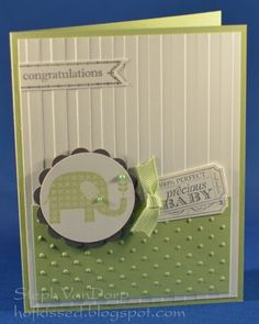 Cute Welcome Baby card, Stampin Up! Patterned Occasions. Would work well with many color combos.
