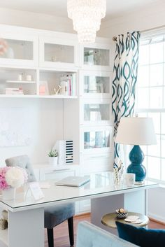 Chic and sleek office idea perfect for the home office. All white desk and built-ins with bold lamp and patterned drapery. Chic and sleek office idea perfect for the home office. All white desk and built-ins with bold lamp and patterned drapery. Decor, Sleek Office, Home Office Furniture, Interior, Feminine Home Offices, Home Decor, House Interior, Interior Design, Office Design