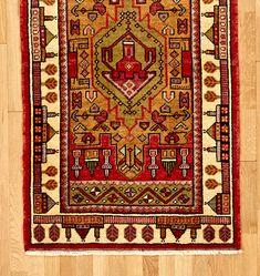 Hand-Knotted Turkish Prayer Rug w/ Building Motifs