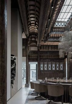 """fuckyeahchinesegarden: """"chinese style architecture mixed with modern design """" i always imagined jianyi's dad living somewhere like this Retail Interior Design, Arch Interior, Restaurant Interior Design, Modern Interior Design, Asian Architecture, Public Architecture, Architecture Details, Interior Architecture, Modern Japanese Interior"""