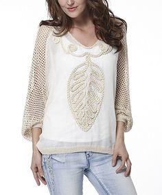 Simply Couture Beige & White Sheer Embroidred Dolman Top | zulily