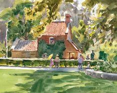 Mike Kowalski, Cook's Cottage in Fitzroy Gardens, Melbourne, Australia. Watercolor Landscape, Watercolor Paper, Painting & Drawing, Melbourne Australia, Drawings, Landscapes, Sketch, Gardens, Cottage
