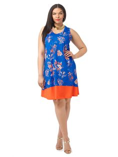 Colorblock Floral Tank Dress by Jete, Available in sizes L-XL and 1X-5X