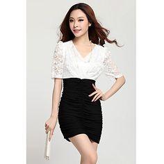 Blanco 2013 del verano del modelo nuevo de Corea del cuello en V vestido de la raya del contraste del color del Zhubi Mujeres – EUR € 14.84