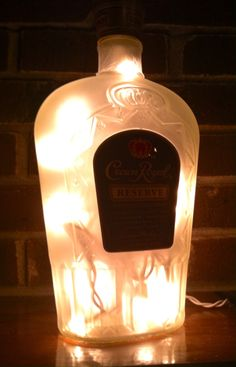 https://www.etsy.com/listing/214531413/crown-royal-reserve-frosted-lighted see more at http://www.lightitupcreations.blogspot.com/?m=1 #bottle #seasonal #whiskey #frosted #lighted #lamp #crownroyal #bar #reserve