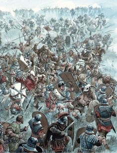AD 9 Roman Legion under attack in Germany Ancient Egyptian Art, Ancient Aliens, Ancient Rome, Ancient History, European History, Ancient Greece, American History, Vikings, Roman Soldiers