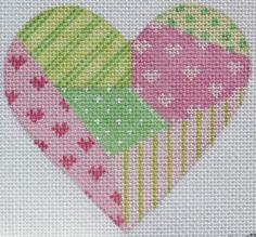 Mini Patchwork Heart - Pinks & Greens