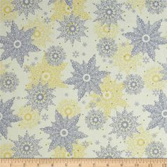 Celebrate the Season Metallic Snowflakes Cream from @fabricdotcom  Designed by Studio 8 for Quilting Treasures, this cotton print fabric is perfect for quilting, apparel and home decor accents. Colors include yellow, grey and cream with metallic gold accents.