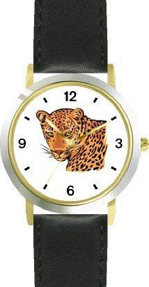 Leopard Cat - WATCHBUDDY® DELUXE TWO-TONE THEME WATCH - Arabic Numbers - Black Leather Strap-Children's Size-Small ( Boy's Size & Girl's Size ) WatchBuddy. $49.95. Save 38%!