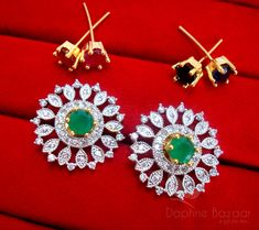 51bcd4844 Daphne Round SixInOne Changeable Zircon Earrings for Women - GREEN Fashion  Jewellery Online Shopping, Rakhi