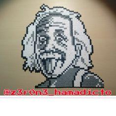 Albert Einstein portrait perler beads by z3r0n3_hamadicto