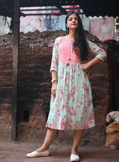 Pink And Blue Floral Summer Dress Kurti Designs Party Wear, Kurta Designs, Dress Designs, Blue Spring Dresses, Summer Dresses, Summer Outfits, Nice Dresses, Casual Dresses, Fashion Dresses
