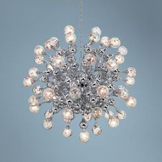 Centauri Chrome Halogen Glass Globe Pendant Chandelier $1500. would be cool in a foyer