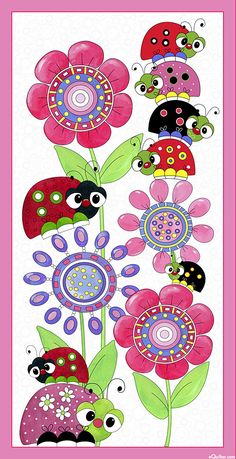 """Lazy Little Ladybugs - Sleepy Beetle Tower - 24"""" x 44"""" PANEL - Quilt Fabrics from www.eQuilter.com"""