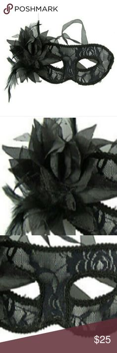 Sexy black lace mask decorated with feathers Semi-transparent sexy black mask. Hard plastic not just pure lace. Ribbon ties on both sides. Adorned with flower/feather decoration on left side only. Beautiful for a party or an adult playtime fantasy, add it to some new lingerie. New, never worn, packaged very safely *135* Accessories