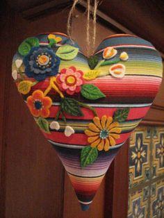 Mexican Valentine Heart. Serape print + Batea felt flowers. Corazon