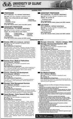 University of Gujrat Hafiz Hayat Campus Jobs